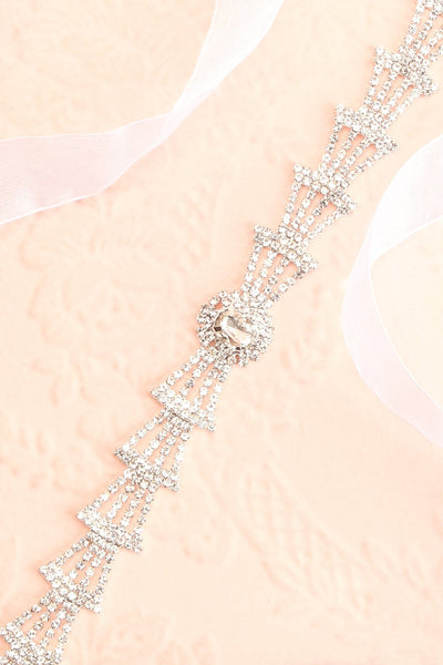 Persis White Ribbon Belt w/ Rhinestones | Boutique 1861 flat close-up