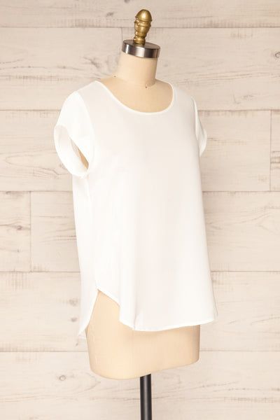 Perth White Crepe Short Sleeve Blouse | La petite garçonne side view