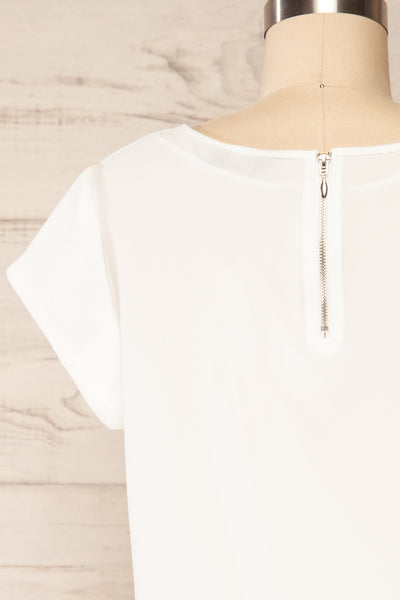 Perth White Crepe Short Sleeve Blouse | La petite garçonne back close up