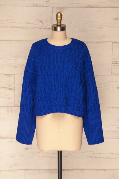 Pertosa Royal Blue Batwing Sleeves Sweater | La Petite Garçonne front view