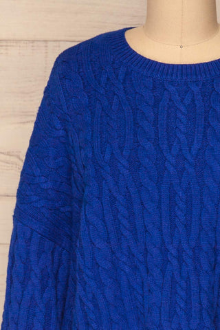 Pertosa Royal Blue Batwing Sleeves Sweater | La Petite Garçonne front close-up