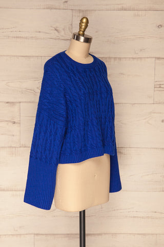 Pertosa Royal Blue Batwing Sleeves Sweater | La Petite Garçonne side view