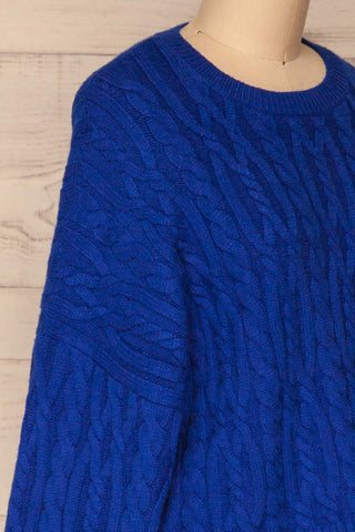 Pertosa Royal Blue Batwing Sleeves Sweater | La Petite Garçonne side close-up