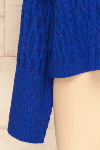 Pertosa Royal Blue Batwing Sleeves Sweater | La Petite Garçonne bottom close-up