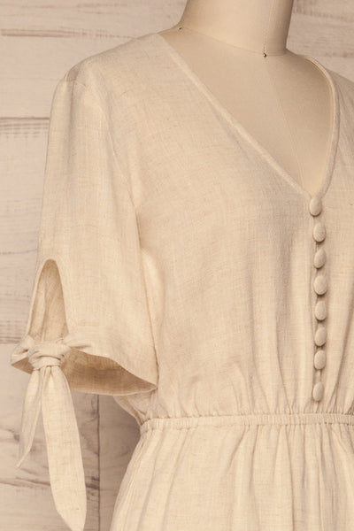 Pescara Beige Linen Jumpsuit | La petite garçonne side close-up