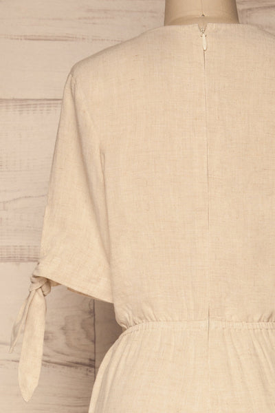 Pescara Beige Linen Jumpsuit | La petite garçonne back close-up