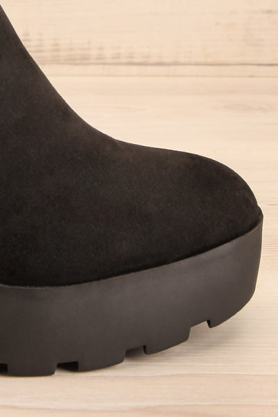 Phalaborwa Black Suede Heeled Chelsea Boots | La petite garçonne side close-up