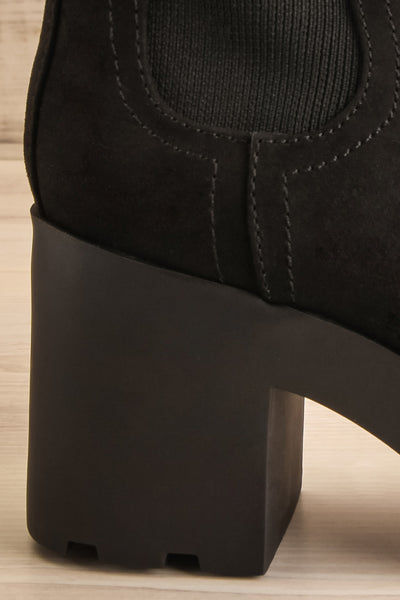 Phalaborwa Black Suede Heeled Chelsea Boots | La petite garçonne side back close-up