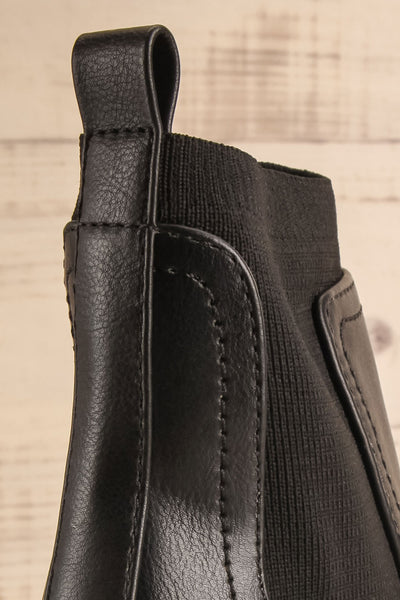 Phalaborwa Black Matte Heeled Chelsea Boots | La petite garçonne back close-up