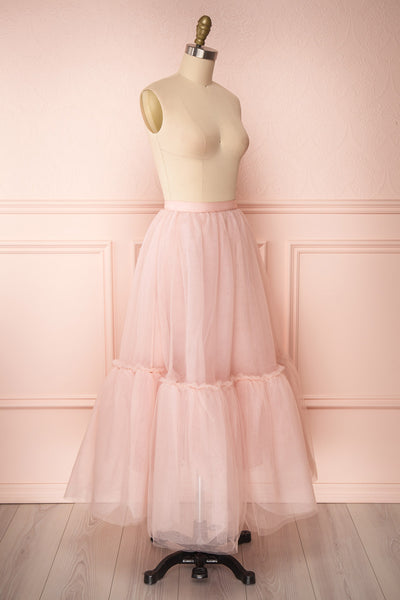 Philana Dusty Pink A-Line Tulle Skirt | Boutique 1861 side view