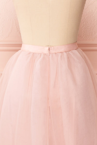 Philana Dusty Pink A-Line Tulle Skirt | Boutique 1861 back close-up