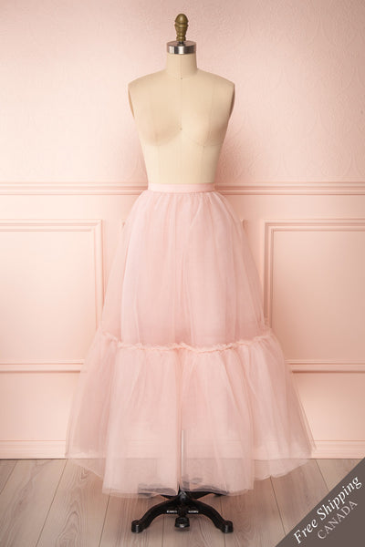 Philana Dusty Pink A-Line Tulle Skirt | Boutique 1861 front view