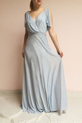 Helma Dusty Blue Maxi Dress | Robe | Boutique 1861 on model