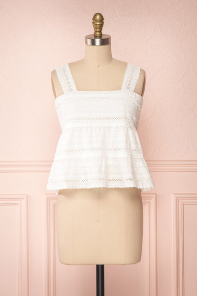 Pianella White Cropped Openwork Cami | Boutique 1861 front view