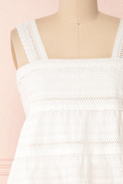 Pianella White Cropped Openwork Cami | Boutique 1861 front close-up