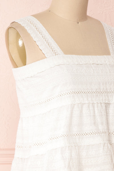 Pianella White Cropped Openwork Cami | Boutique 1861 side close-up