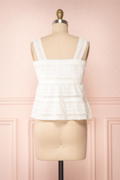 Pianella White Cropped Openwork Cami | Boutique 1861 back view