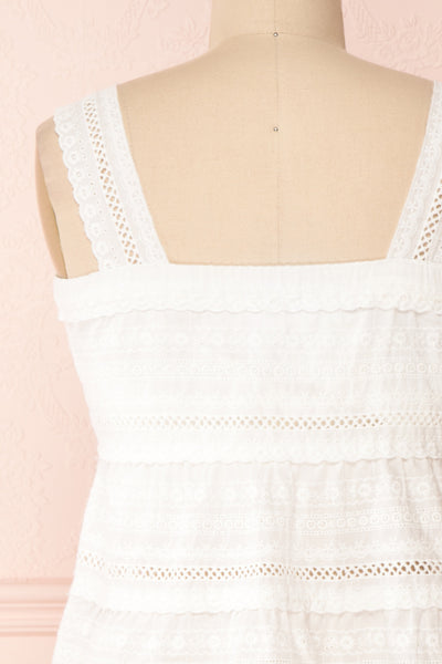 Pianella White Cropped Openwork Cami | Boutique 1861 back close-up