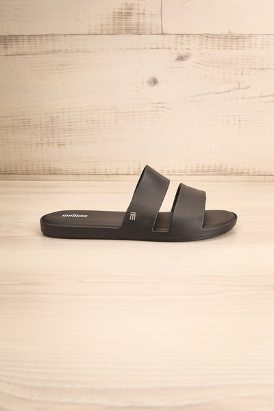 Pichincha Black Slip-On Sandals | La petite garçonne side view