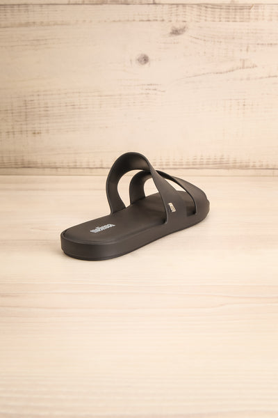 Pichincha Black Slip-On Sandals | La petite garçonne back view