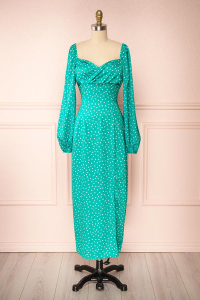Pierette Green Patterned Maxi Dress w/ Slit | Boutique 1861 front view