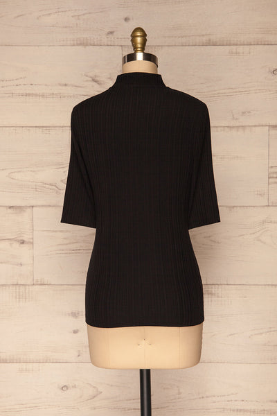Pieszyce Black Mock Neck Top back view | La petite garçonne