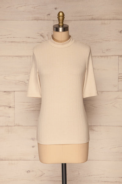 Pieszyce Cream White Mock Neck Top front view | La petite garçonne