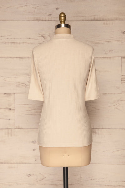 Pieszyce Cream White Mock Neck Top back view | La petite garçonne