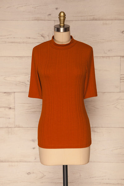 Pieszyce Rust Orange Mock Neck Top front view | La petite garçonne