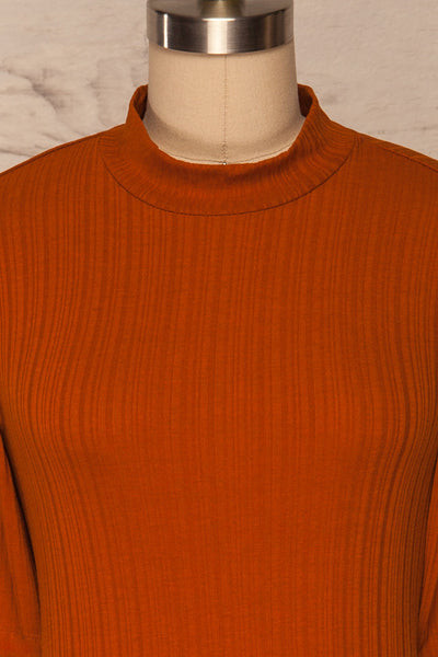 Pieszyce Rust Orange Mock Neck Top front close up | La petite garçonne
