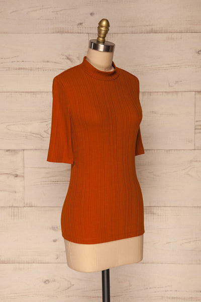 Pieszyce Rust Orange Mock Neck Top side view | La petite garçonne