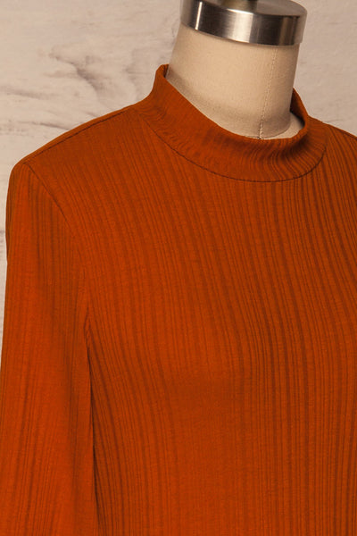 Pieszyce Rust Orange Mock Neck Top side close up | La petite garçonne