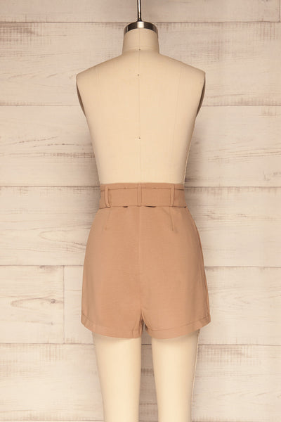 Pitesti Beige High Rise Shorts | La Petite Garçonne back view