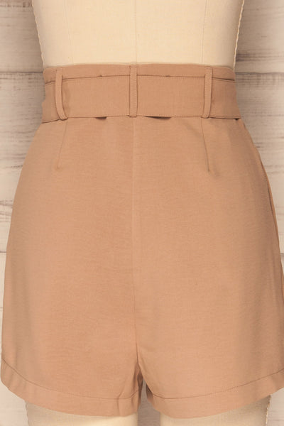 Pitesti Beige High Rise Shorts | La Petite Garçonne back close-up