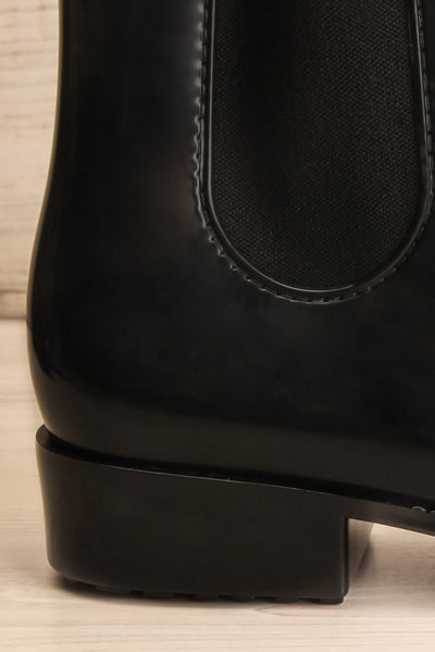 Pleyel Noir Black Chelsea Rain Boots side heel close-up | La Petite Garçonne Chpt. 2