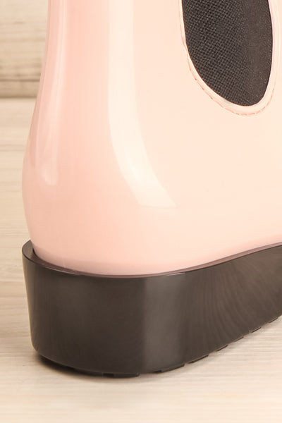Pleyel Rose Pink Chelsea Rain Boots back close-up | La Petite Garçonne Chpt. 2