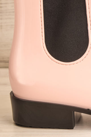 Pleyel Rose Pink Chelsea Rain Boots side heel close-up | La Petite Garçonne Chpt. 2