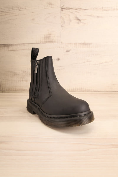 Plymouth Black Chelsea Boots with Faux-Fur front view | La Petite Garçonne