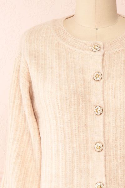 Polikin Beige Button-Up Cardigan | La petite garçonne front close-up