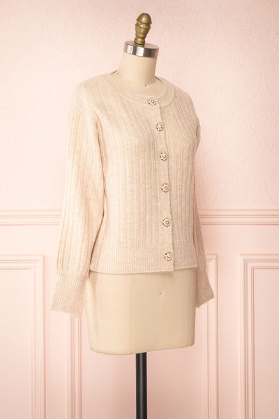 Polikin Beige Button-Up Cardigan | La petite garçonne side view