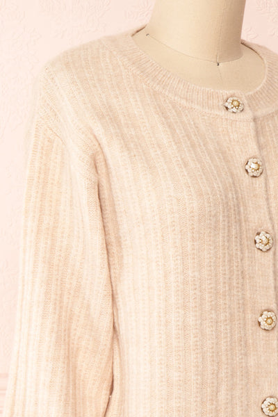 Polikin Beige Button-Up Cardigan | La petite garçonne side close-up