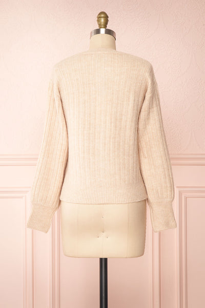 Polikin Beige Button-Up Cardigan | La petite garçonne back view