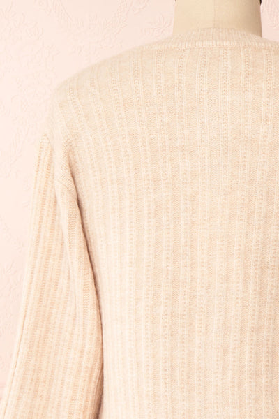 Polikin Beige Button-Up Cardigan | La petite garçonne back close-up