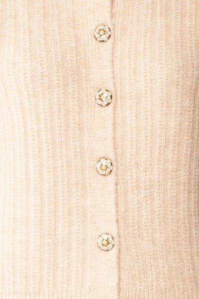 Polikin Beige Button-Up Cardigan | La petite garçonne fabric
