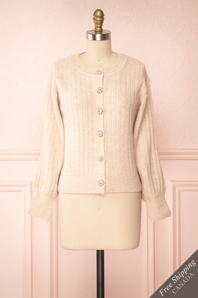 Polikin Beige Button-Up Cardigan | La petite garçonne front view