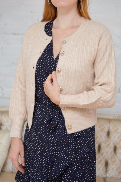 Polikin Beige Button-Up Cardigan | Boutique 1861 model close up