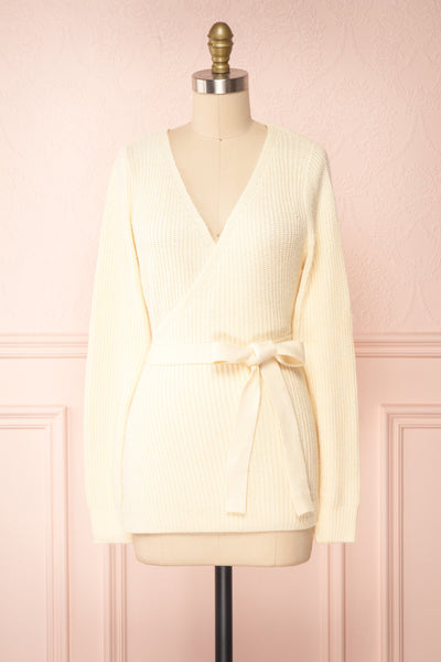 Polkan White Knit Wrap Cardigan | Boutique 1861 front view