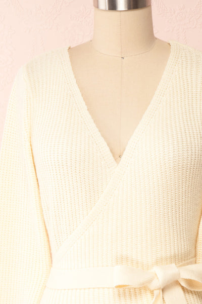 Polkan White Knit Wrap Cardigan | Boutique 1861 front close-up