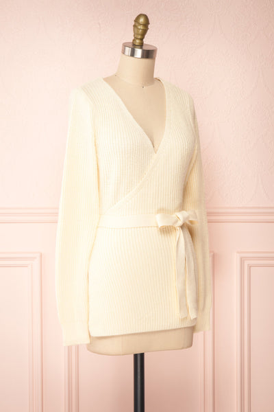 Polkan White Knit Wrap Cardigan | Boutique 1861 side view