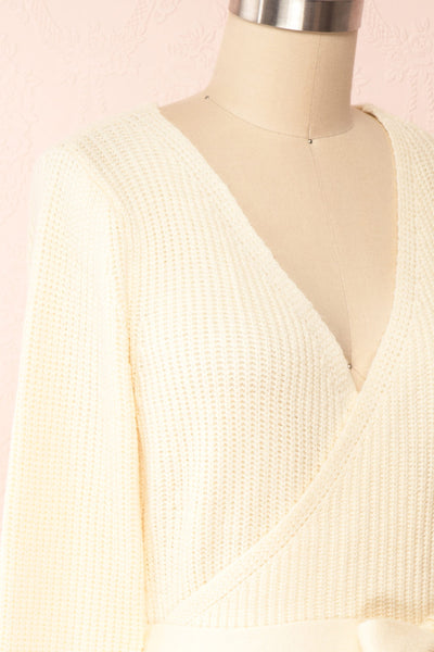 Polkan White Knit Wrap Cardigan | Boutique 1861 side close-up